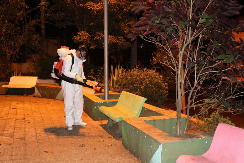 Espaços públicos são desinfectados em Rafard