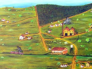 Óleo sobre tela representando Rafard no período de sua fundação (Pintura de Eliseu de Oliveira)